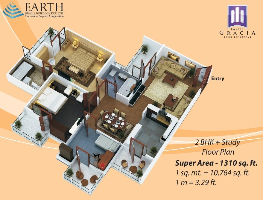 earth-grachi-floor-pan-2bhk+2toilet-1310-sqr-ft
