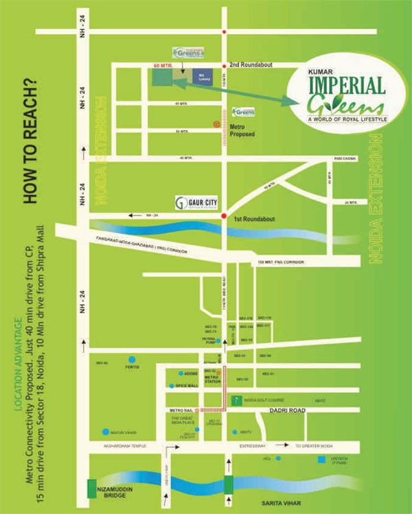 kumar imperial greens location map1