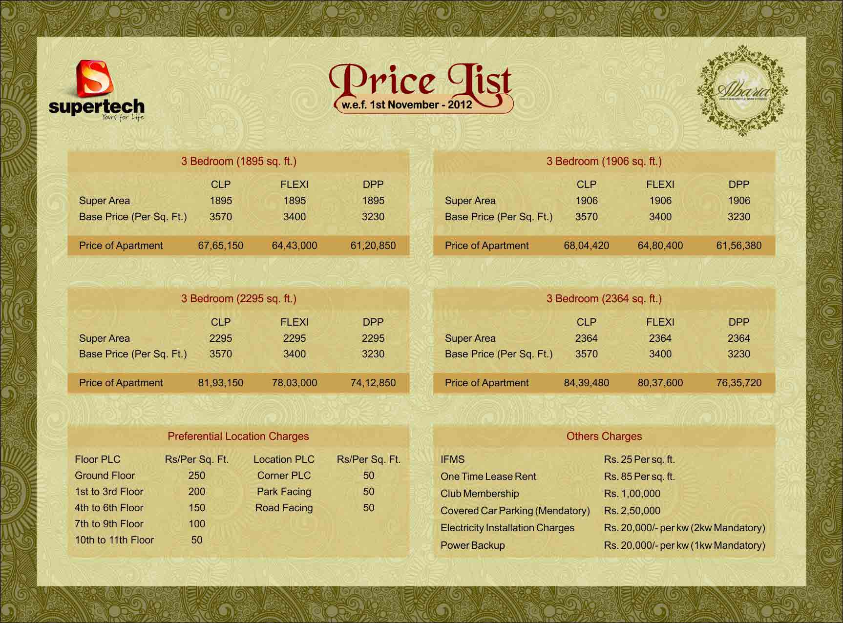 supertech albaria price list