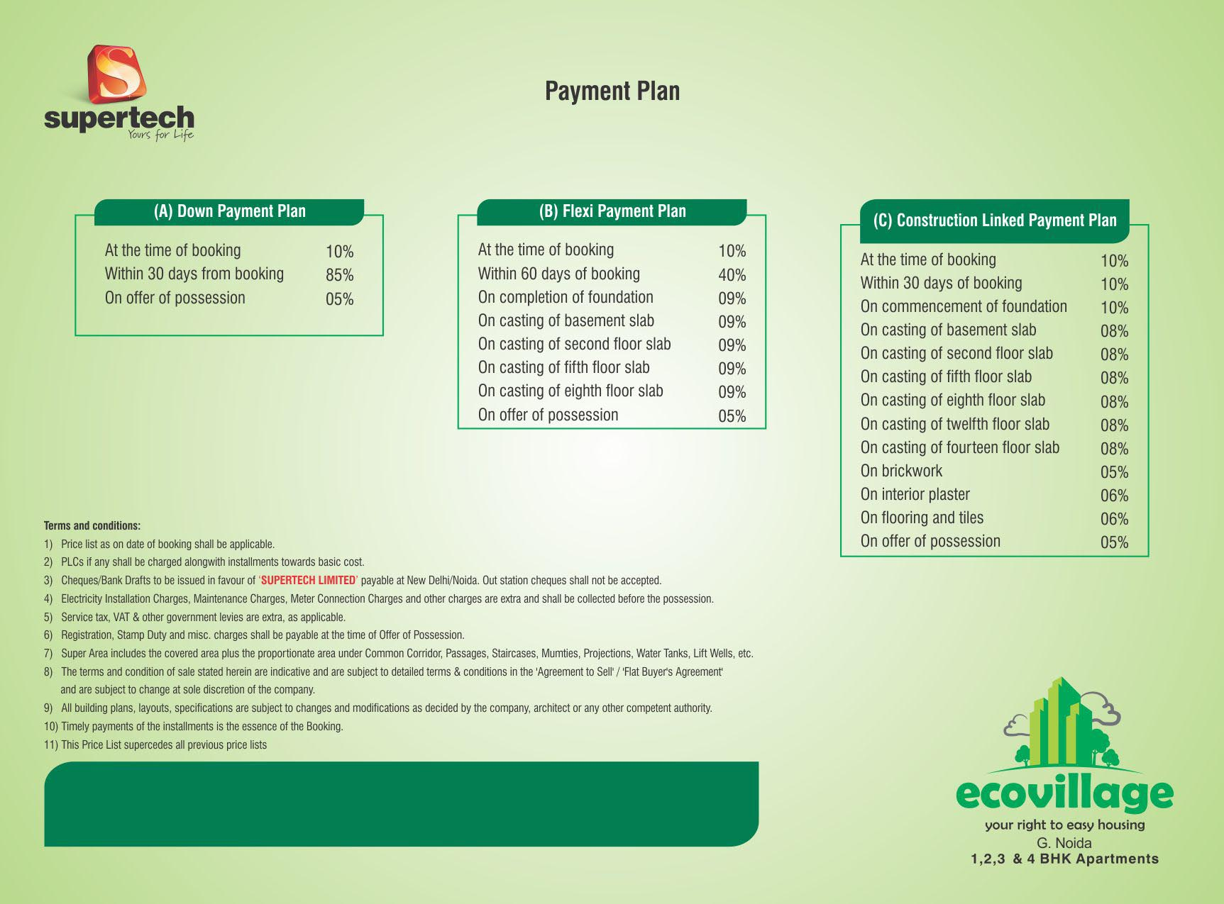 supertech-eco-village-payment plan