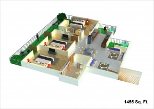 unibera floor plan 1455sqft.