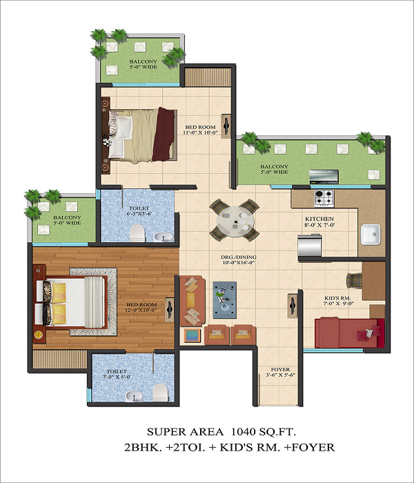 ajnara le garden floor plan 2bhk 2toilet 1040 sq.ft