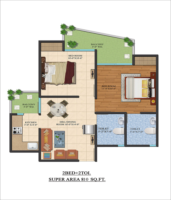 ajnara le garden floor plan 2bhk 2toilet 810 sq.ft