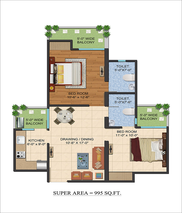 ajnara le garden floor plan 2bhk 2toilet 995 sq.ft
