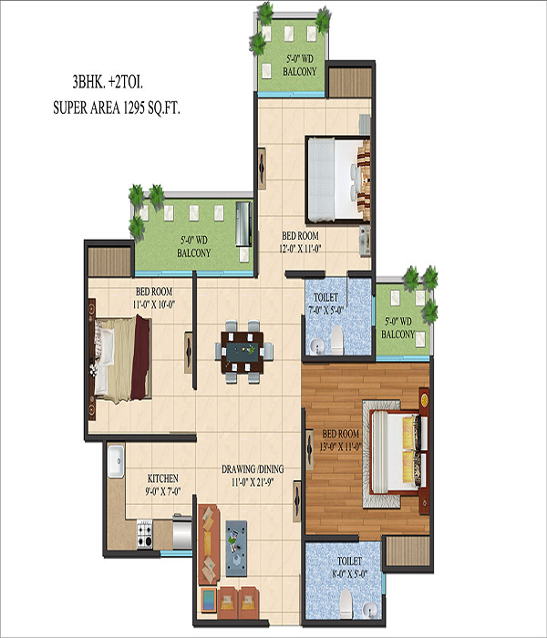 ajnara le garden floor plan 3bhk 2toilet 1295 sq.ft