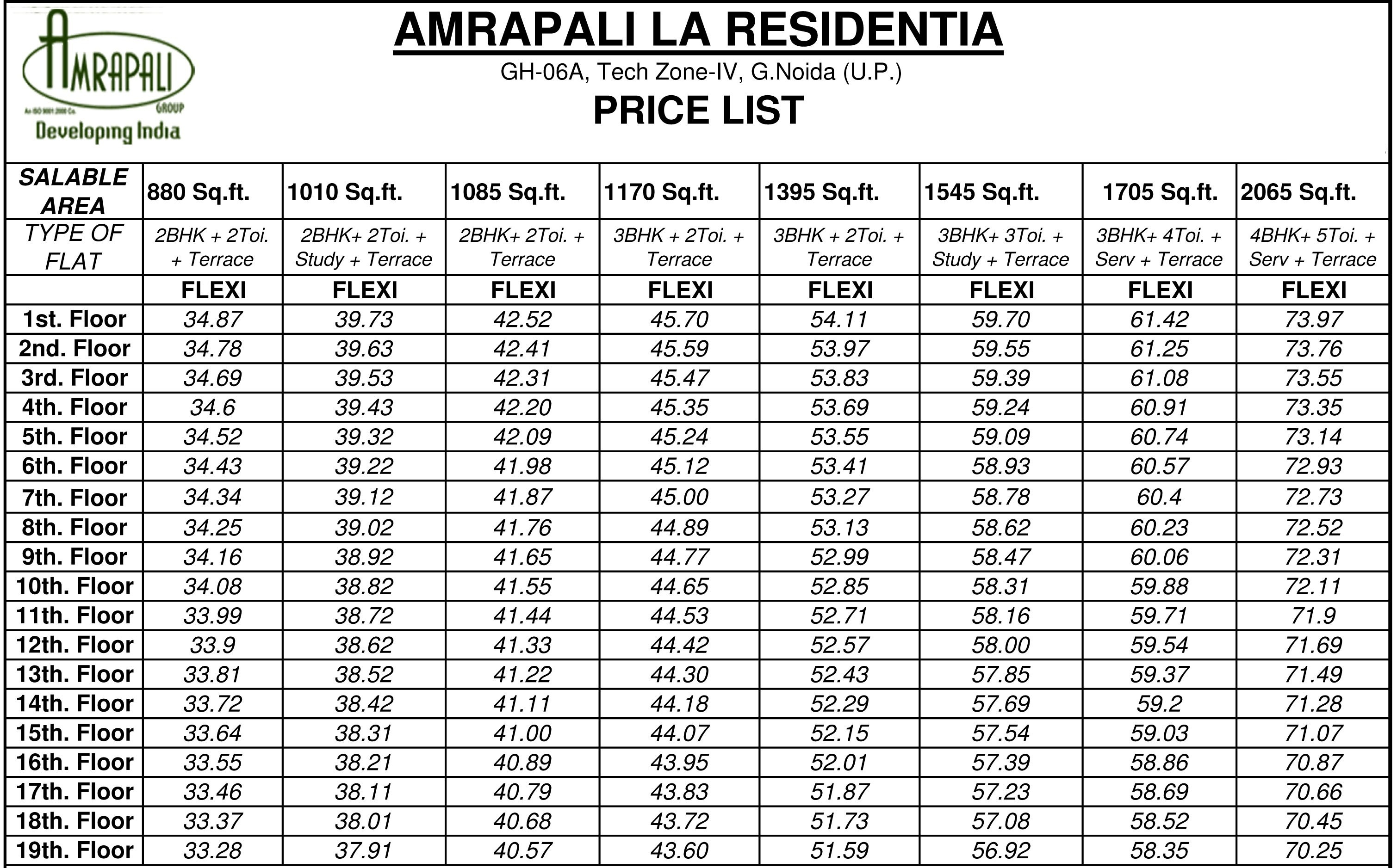 amrapali la residentia price list2