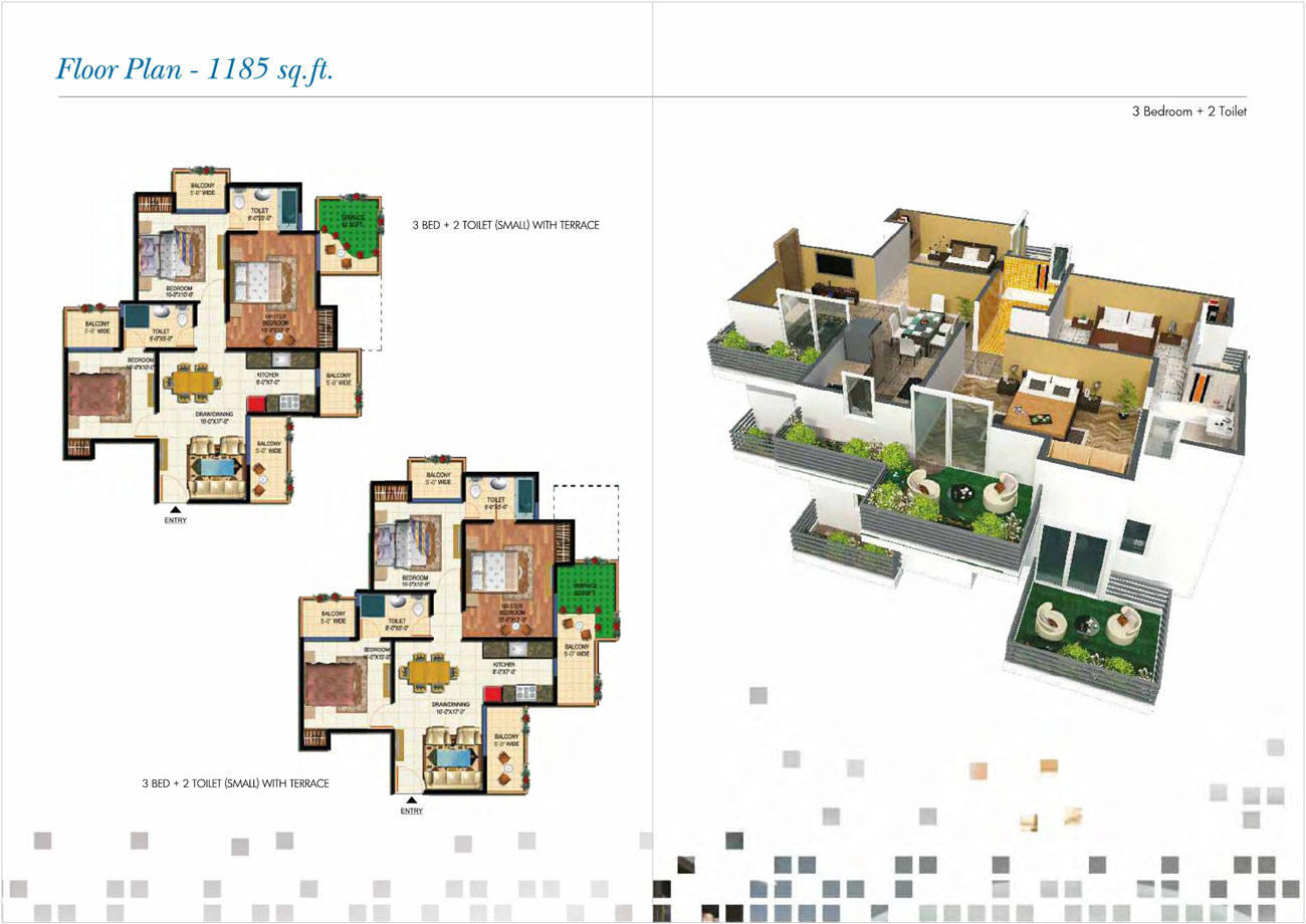 amarpali 02 valley floor plan 3bhk 2toilet 1185sqft