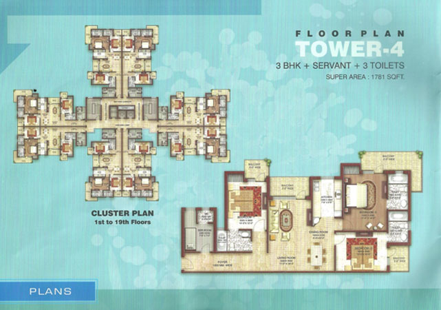 astha green floor plan 3bhk 3toilet 1781 sqft