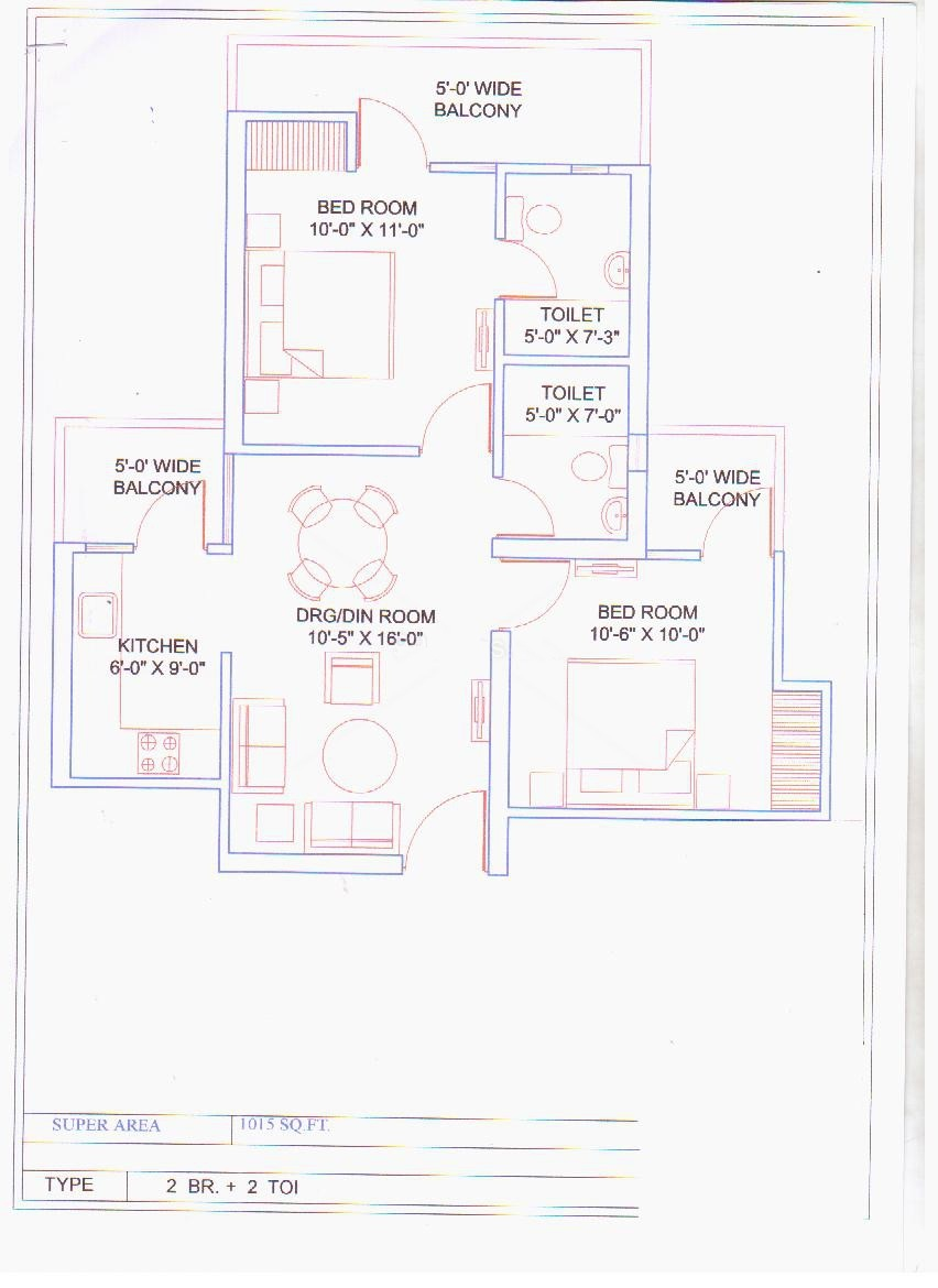 balaji vivaan floor plan 2BHK 2toilet 1015 sqr ft