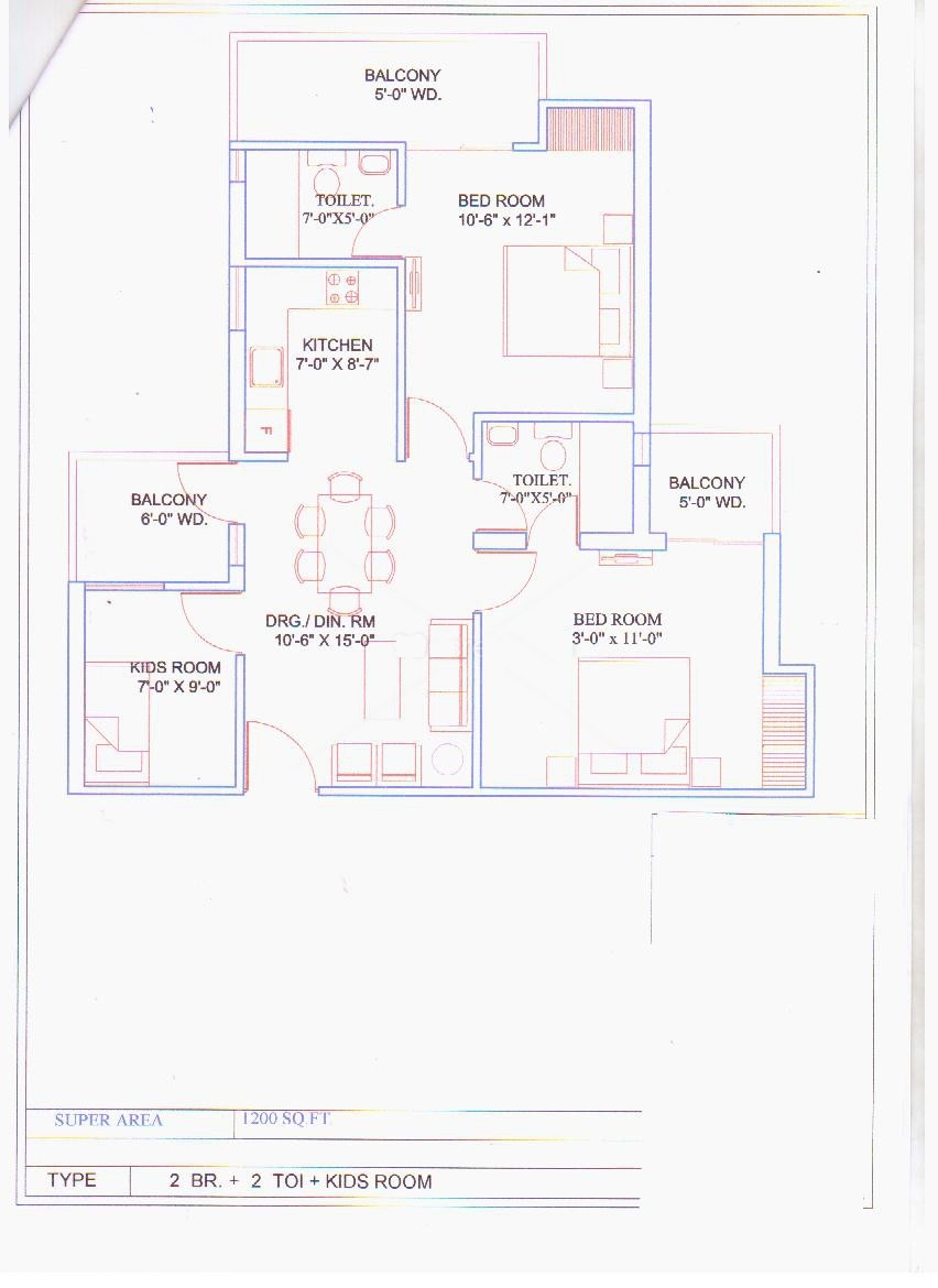 balaji vivaan floor plan 2bhk 2toilet 1200 sqr ft