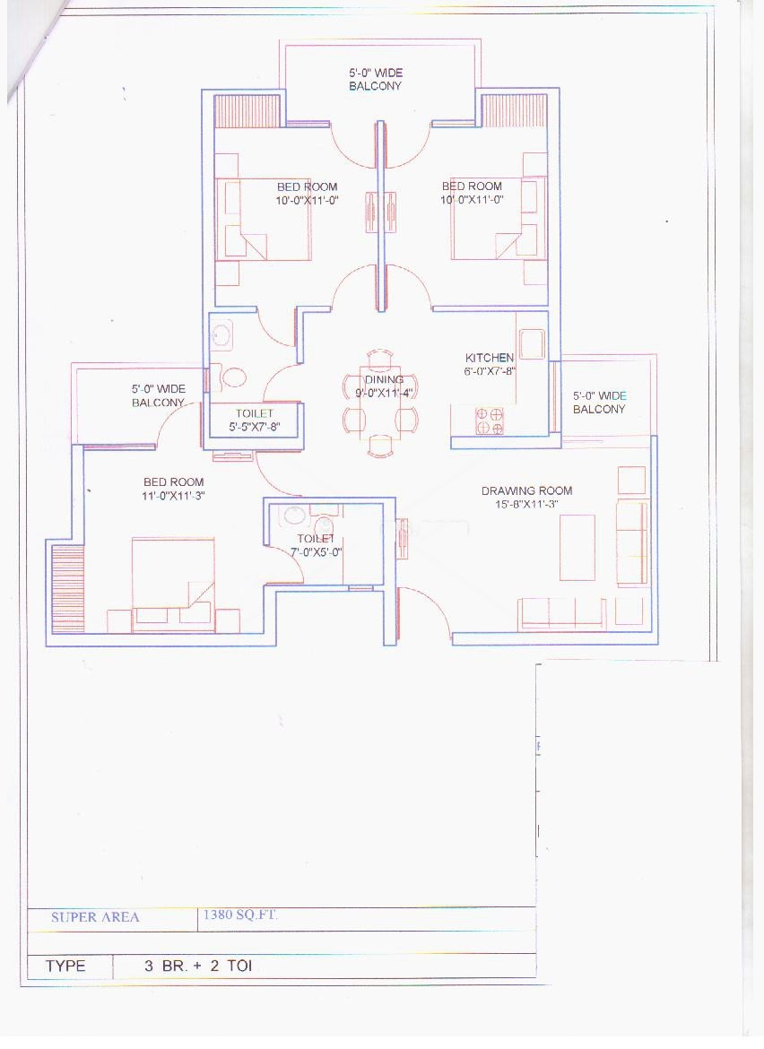 balaji vivaan floor plan 3bhk 2toilet 1380 sqr ft