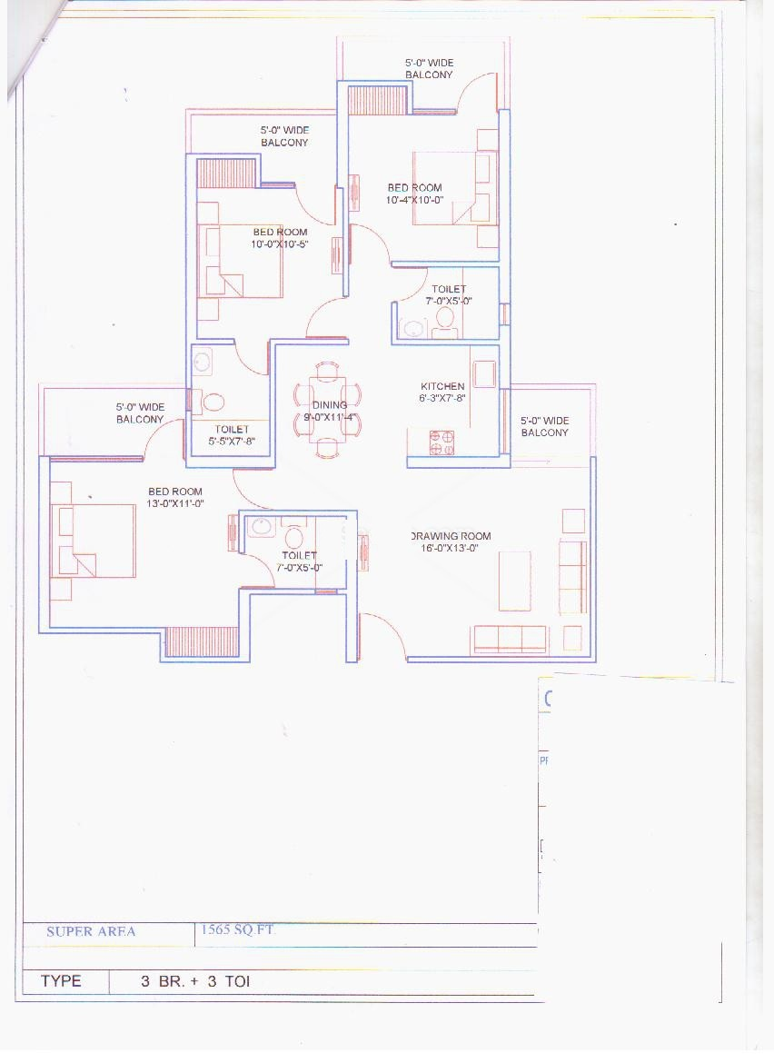 balaji vivaan floor plan 3bhk 3toilet 1565 sqr ft