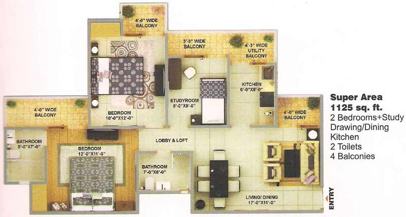 bulland elevates floor plan 2bhk 2toilet 1125 sqft