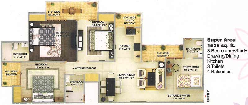 bulland elevates floor plan 3bhk 3toilet 1535 sqft
