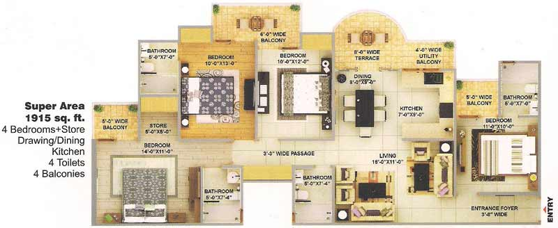 bulland elevates floor plan 4bhk 4toilet 1915 sqft