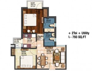 earthcon sanskriti floor plan 2bhk 2toilet 793 sqft