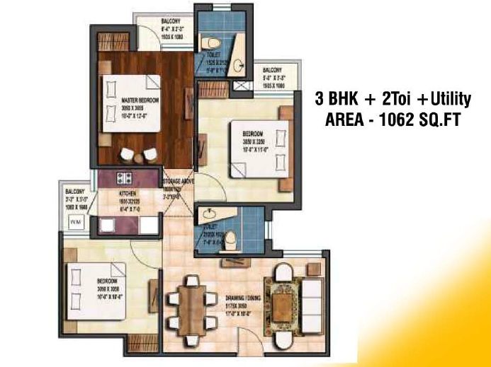 earthcon sanskriti floor plan 3bhk 2toilet 1062 sqft