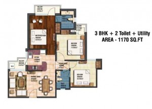 earthcon sanskriti floor plan 3bhk 2toilet 1170 sqft