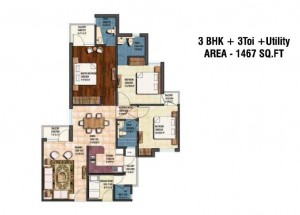 earthcon sanskriti floor plan 3bhk 3toilet 1467 sqft