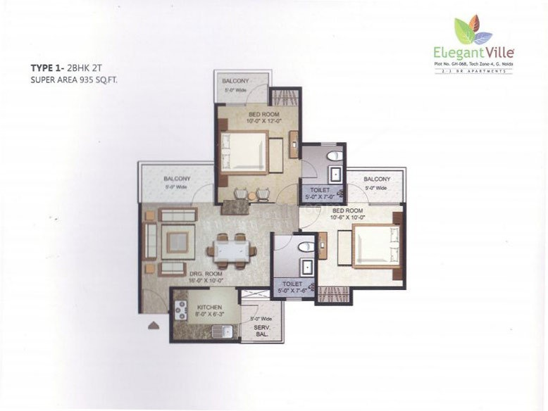 elegant ville floor plan 2bhk 2toilet 935 sqft