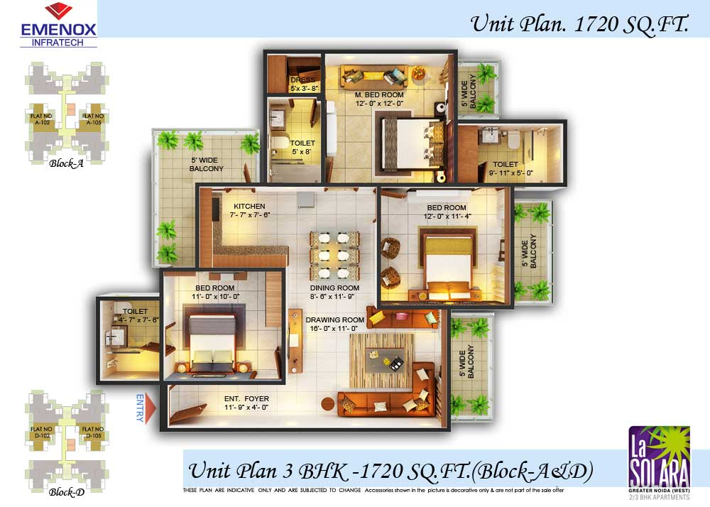 emenox la solara floor plan 3bhk+2toilet 1720 sqft
