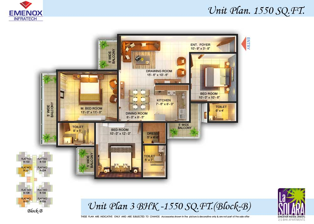 emonox la solara floor plan 3bhk+2toilet 1550 sqft