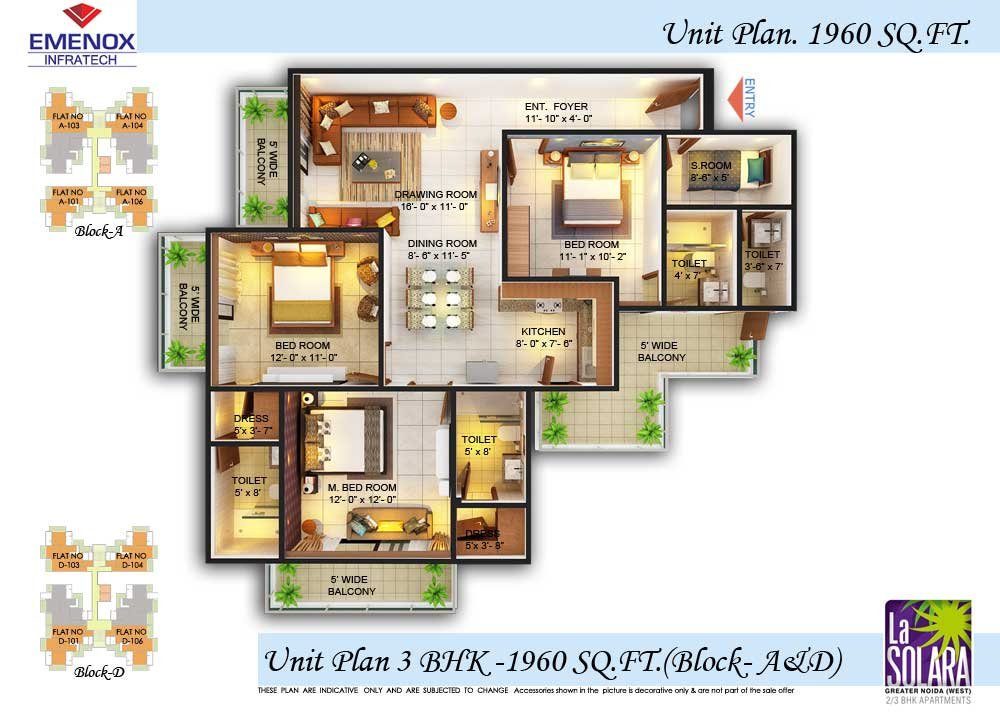 emonox la solara floor plan 3bhk+3toilet 1960 sqft