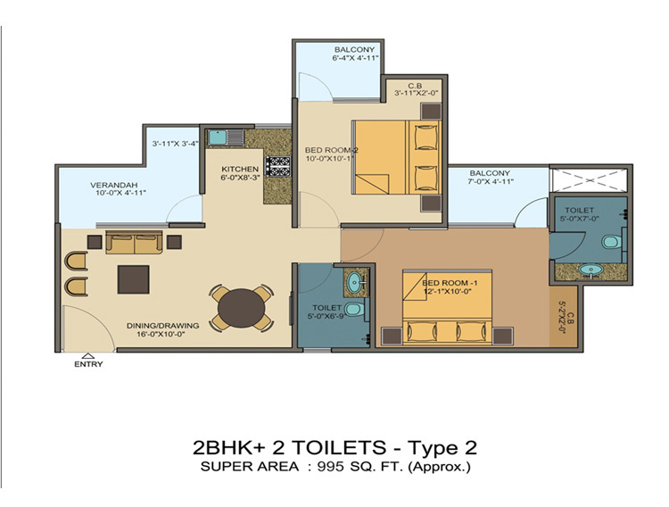 kvd windpark floor plan 2bhk+2toilet 995 sqft