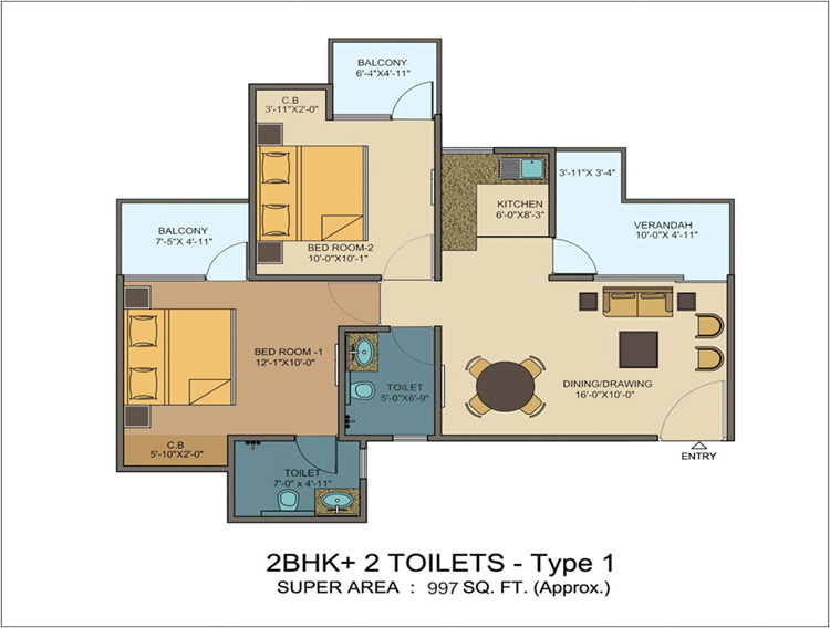 kvd windpark floor plan 2bhk+2toilet 997 sqft