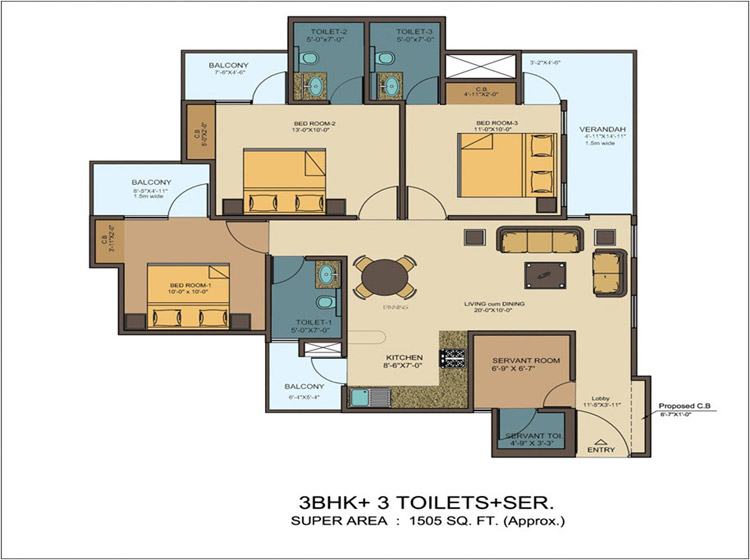 kvd windpark floor plan 3bhk+3toilet 1505 sqft