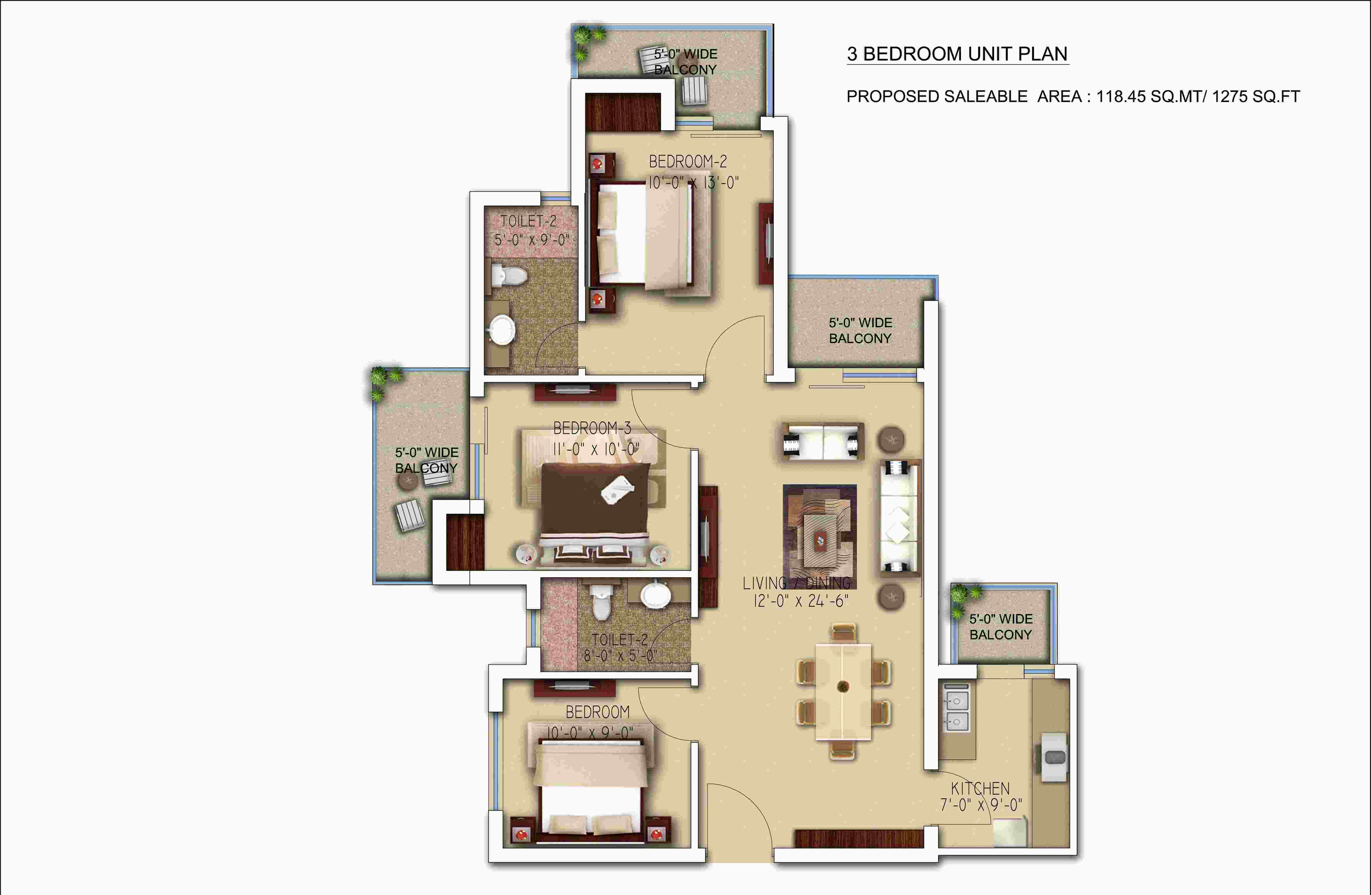 morpheus bluebell floor plan 3bhk 2toilet 1275 sqft