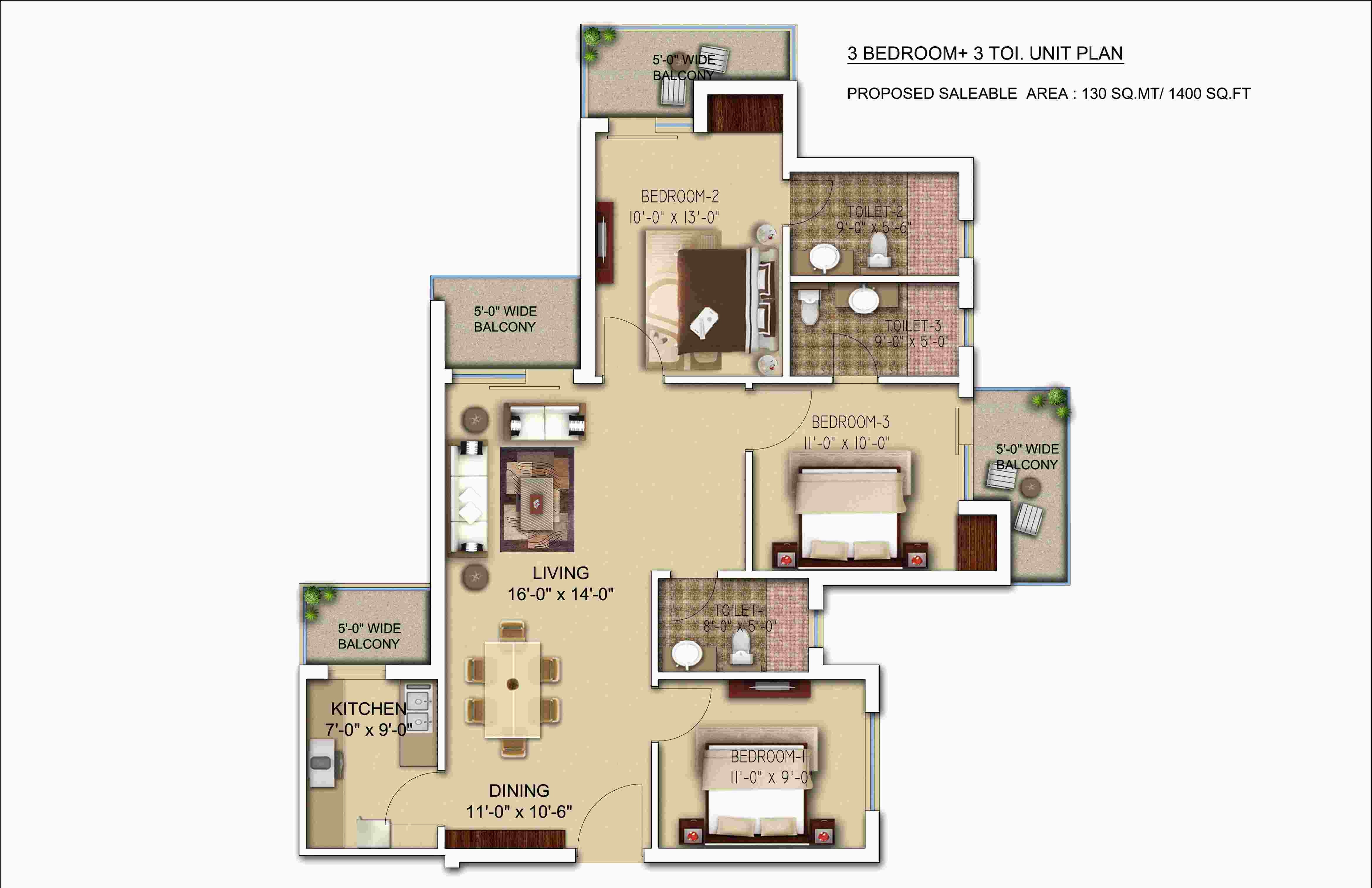 morpheus bluebell floor plan 3bhk 3toilet 1400 sqft