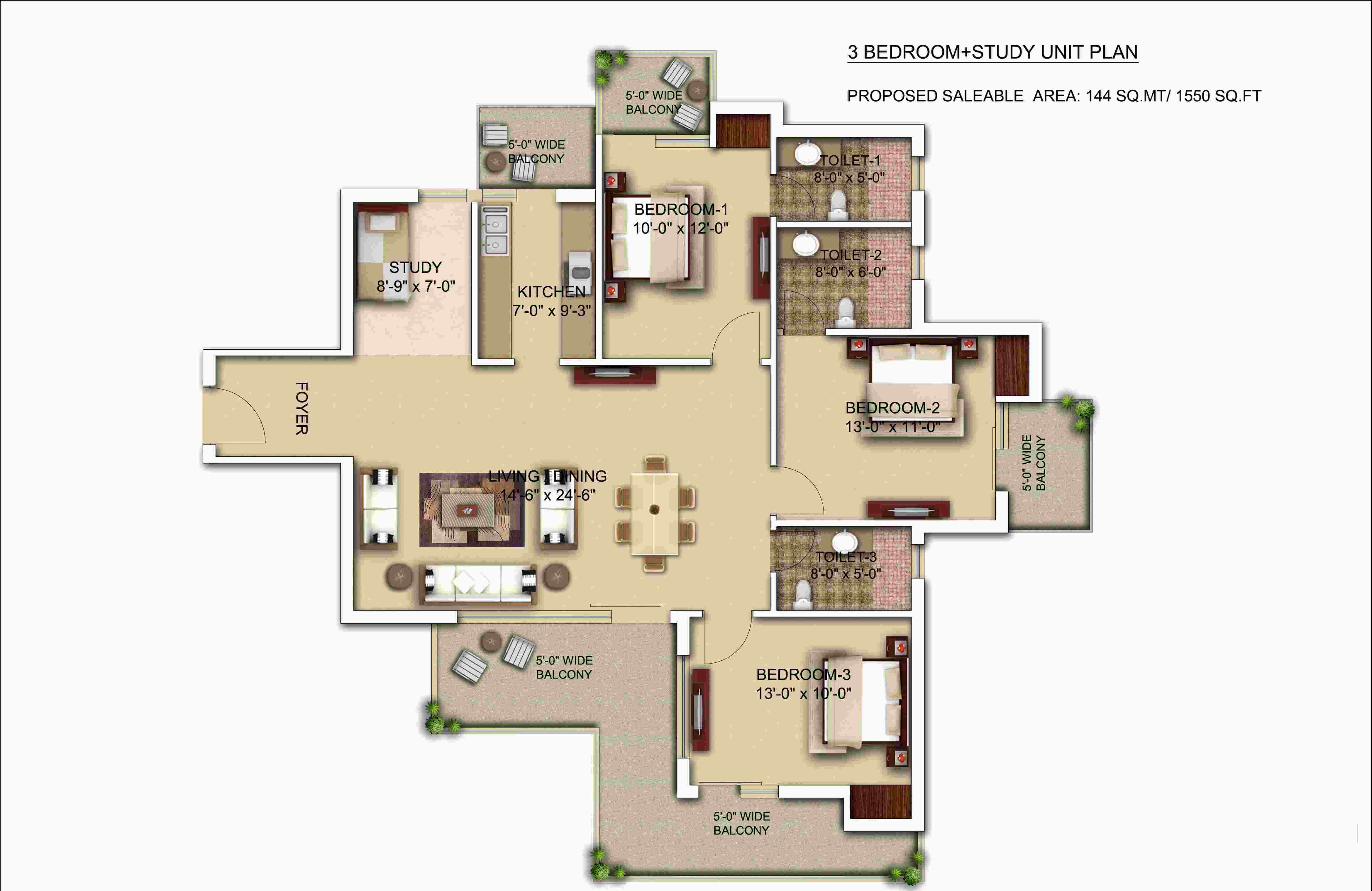 morpheus bluebell floor plan 3bhk 3toilet 1550 sqft