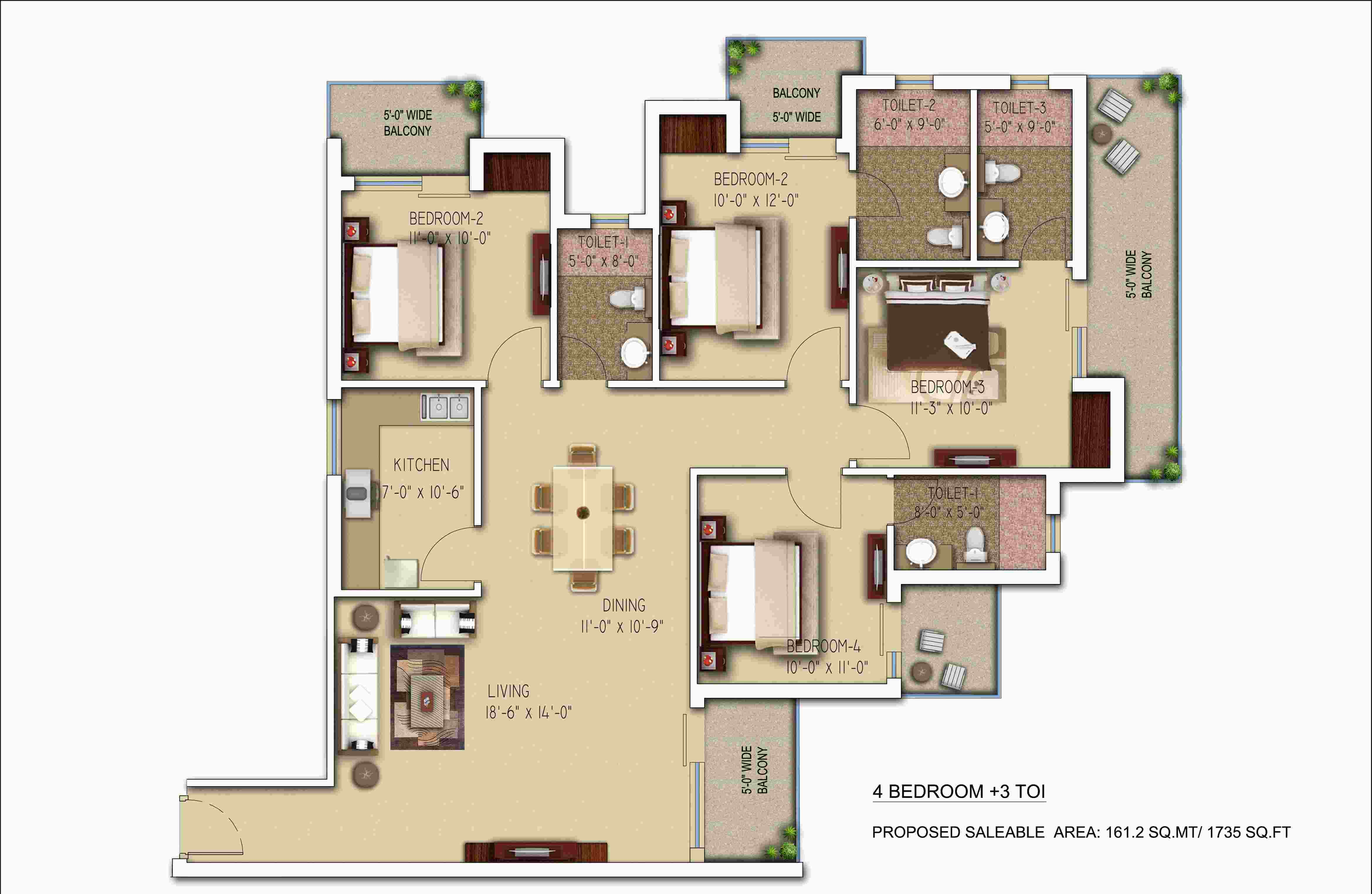 morpheus bluebell floor plan 4bhk 3toilet 1737 sqft