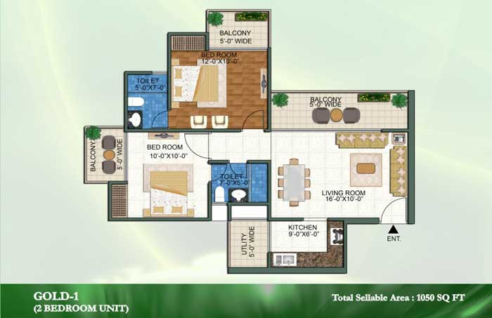 novena green floor plan 2bhk+2toilet 1050 sqft