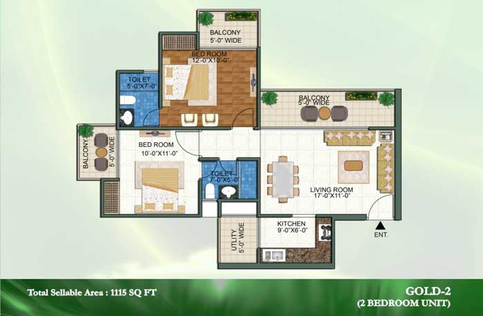 novena green floor plan 2bhk+2toilet 1115 sqft