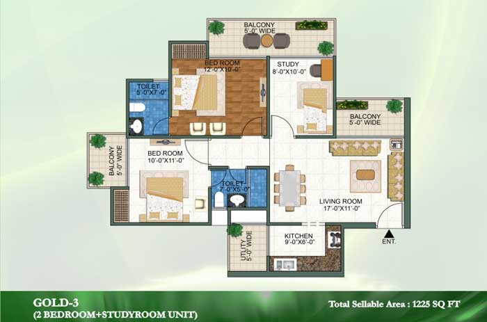 novena green floor plan 2bhk+2toilet 1225 sqft