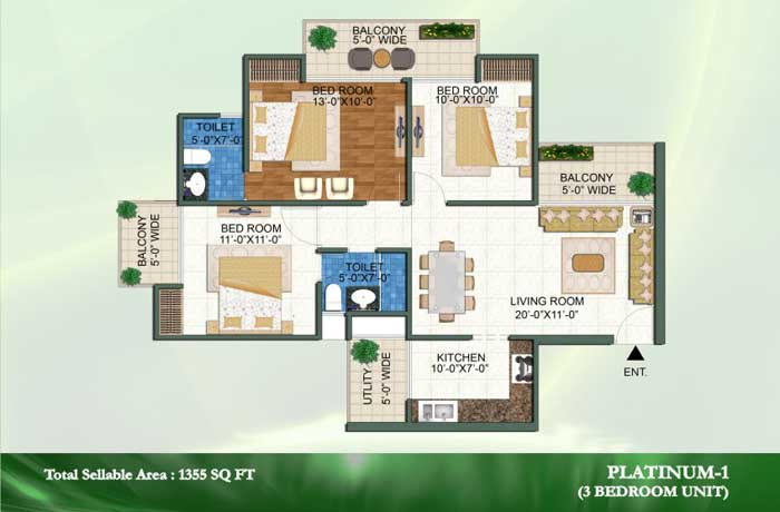 novena green floor plan 3bhk+2toilet 1355 sqft