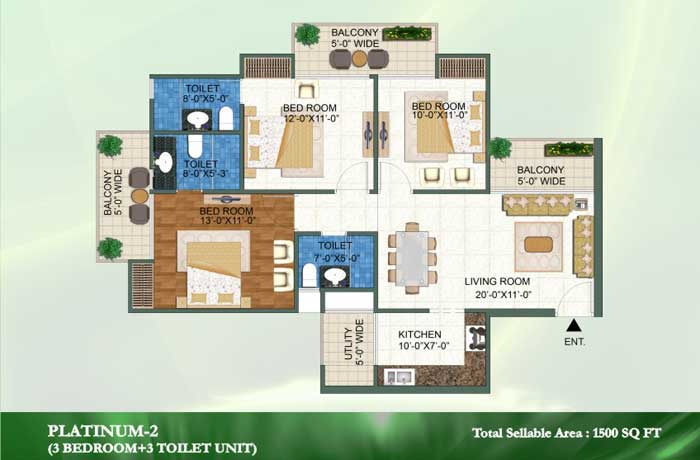 novena green floor plan 3bhk+3toilet 1500 sqft