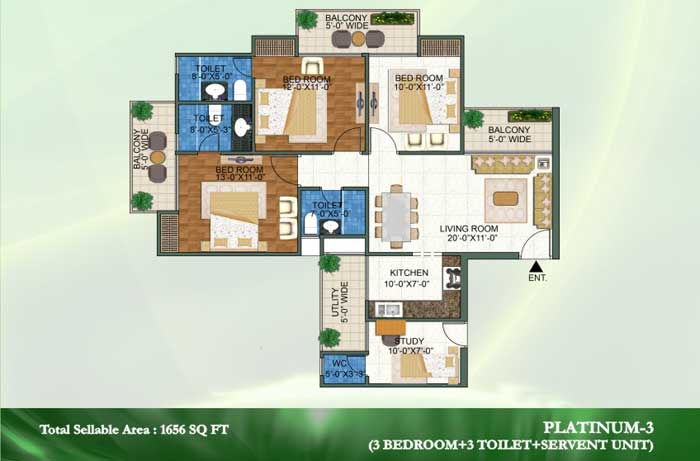novena green floor plan 3bhk+3toilet 1656 sqft