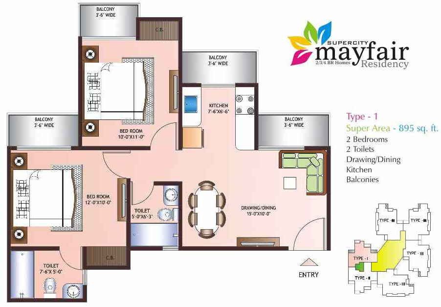 mayfair residency floor plan 2bhk 2toilet 895 sqft