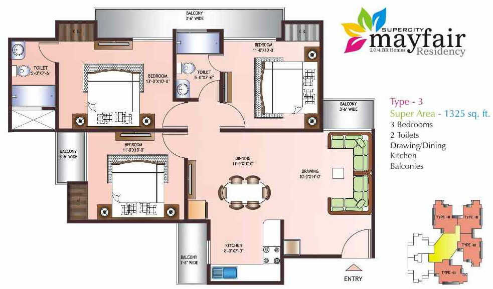 mayfair residency floor plan 3bhk 2toilet 1325 sqft