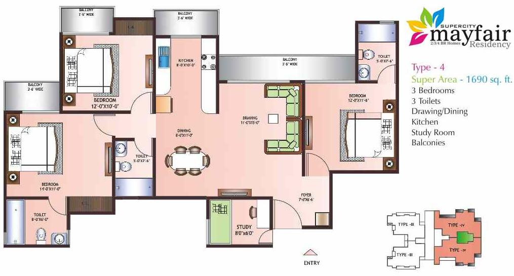 mayfair residency floor plan 3bhk 3toilet 1690 sqft