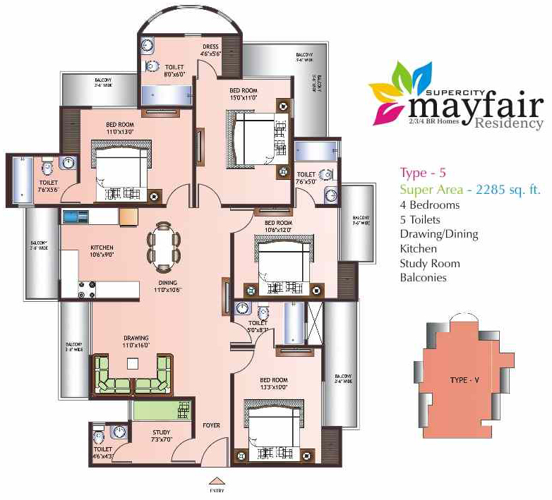 mayfair residency floor plan 5bhk 4toilet 2285 sqft