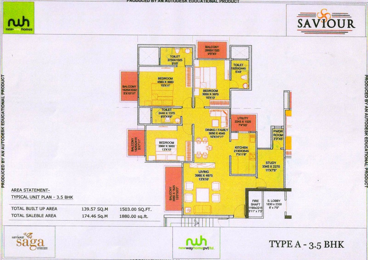 saviour saga floor plan 3bhk 3toilet 1880 sqft