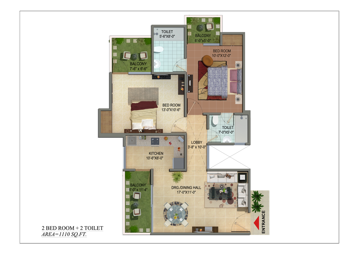 shivalik homes 2bhk 2toilet 1110 sqr ft floor plan