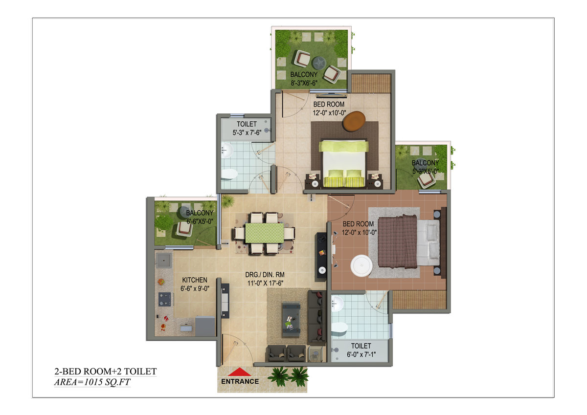 shivalik homes floor plan 2bhk 2toilet 1015 sqr ft