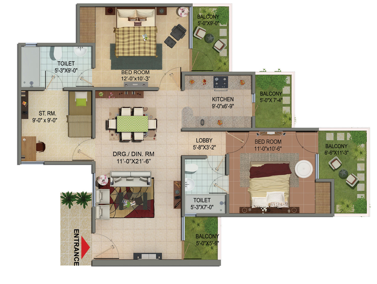 shivalik homes floor plan 2bhk study room 1285 sqr ft