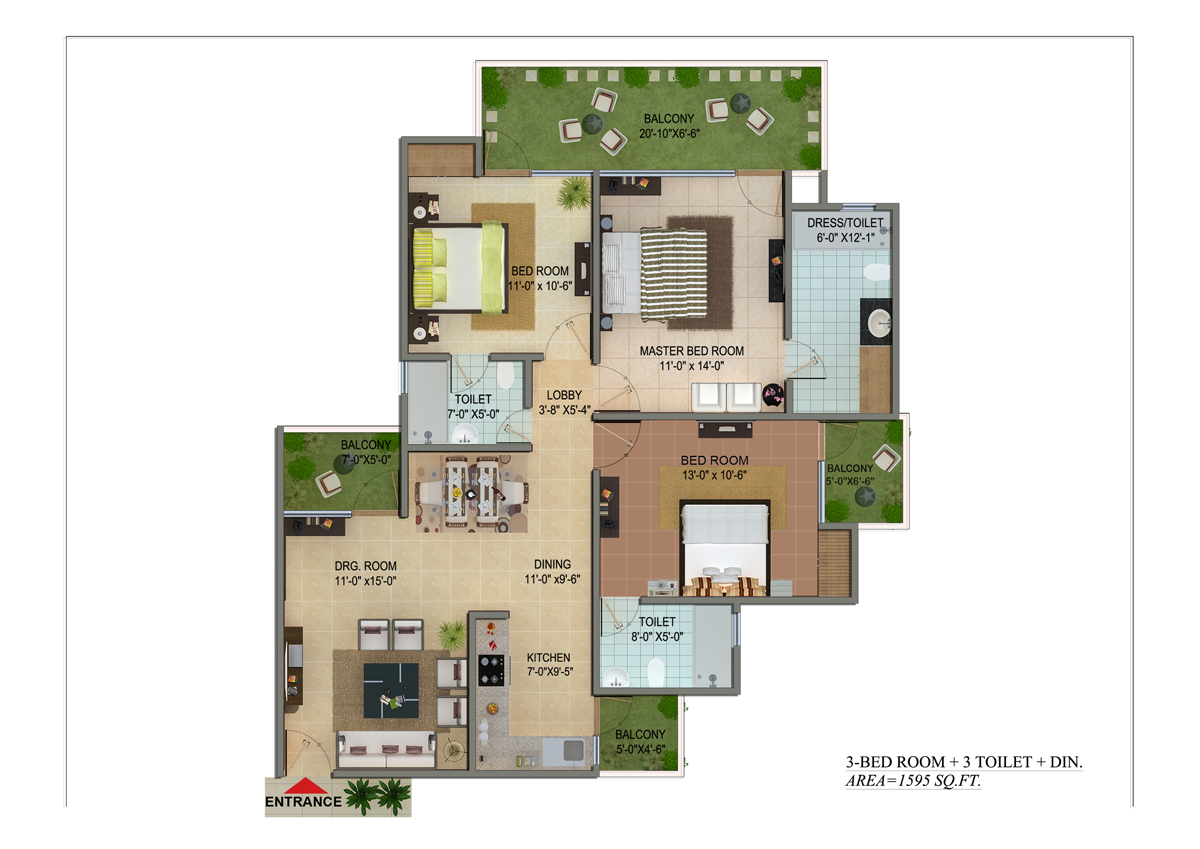 shivalik homes floor plan 3bhk 1595 sqr ft