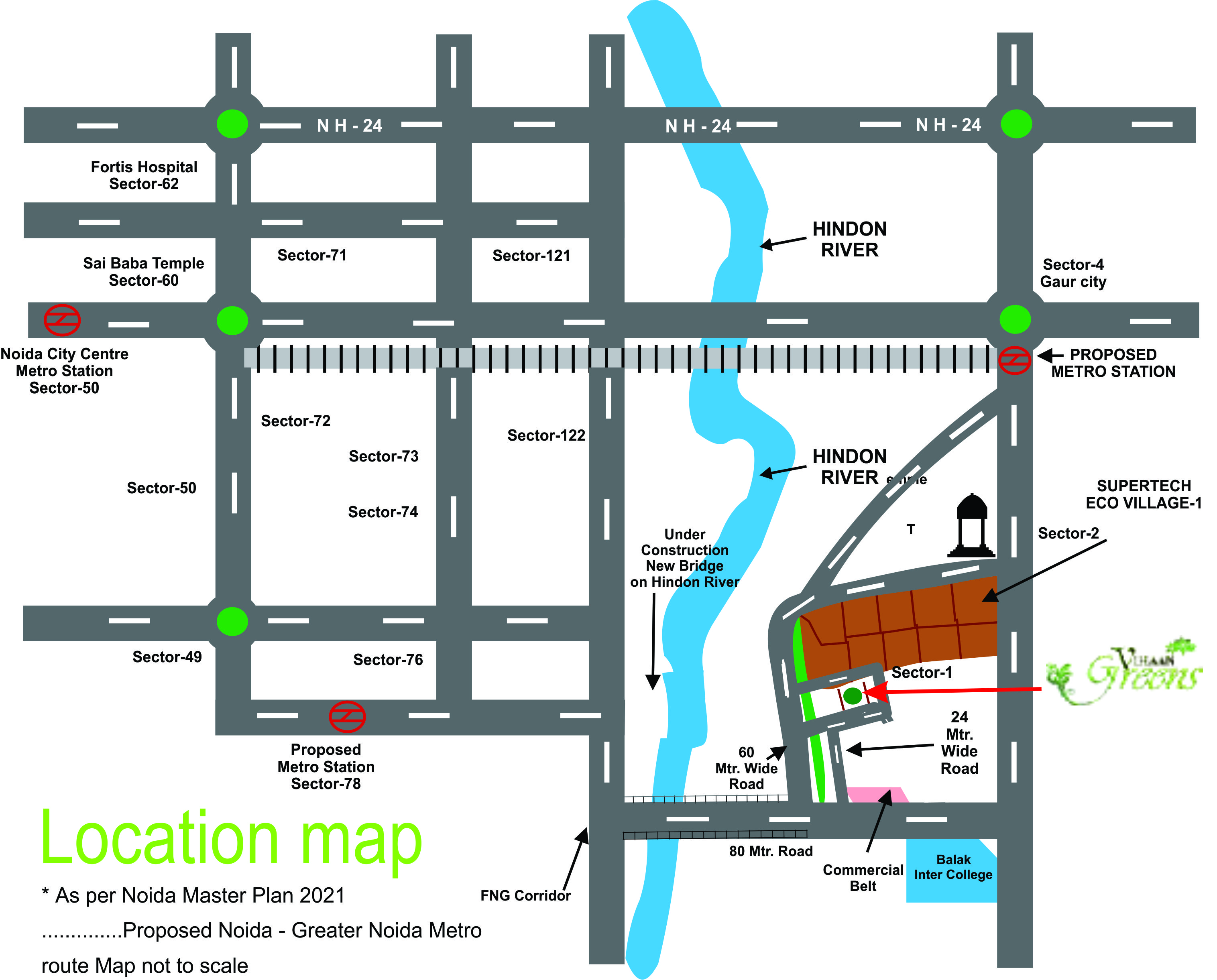 vihaan greens location map